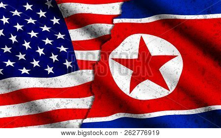 Realistic American And North Korean Waving Flags With Grunge Texture. Confrontation Between Two Coun