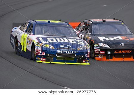 LOUDON, NH - SEP 18:  Jimmie Johnson brings his Lowe's Chevrolet through the turns during practice for the Sylvania 300 race at the New Hampshire Motor Speedway in Loudon, NH on Sept 18, 2010