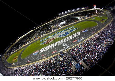 CONCORD, NC - OCT 16:  The NASCAR Sprint Cup Series teams take to the track for the Bank of America 400 race at the Charlotte Motor Speedway in Concord, NC on Oct 16, 2010.