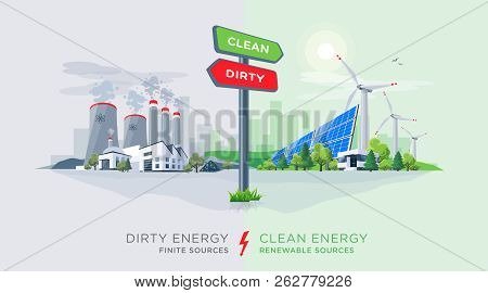 Vector Illustration Showing Directional Sign To Clean Or Dirty Electricity Factory Production. Pollu