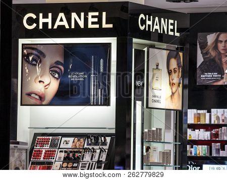 Belgrade, Serbia - October 8, 2018:  Logo Of Chanel Seen In Their Belgrade Main Store At Night. Coco