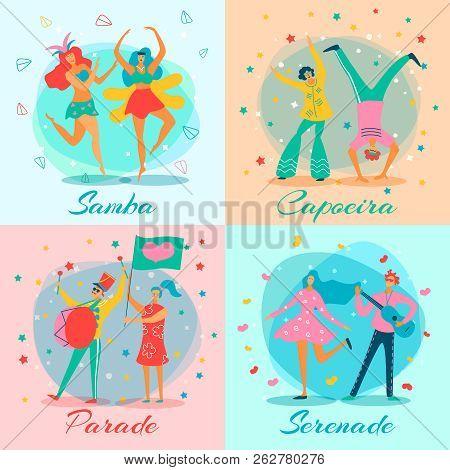 Four Squares Parade People Flat Icon Set With Samba Capoeira Parade And Serenade Descriptions Vector