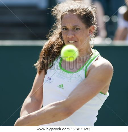 CHARESTON, SC - APR 04: Patty Schnyder (SUI) returns a serve in her match with Chanelle Scheepers (RSA) on April 4, 2011 at the Family Circle Tennis Center in Charleston, SC