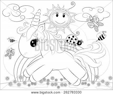 Coloring Pages. Little Cute Pony And Rainbow