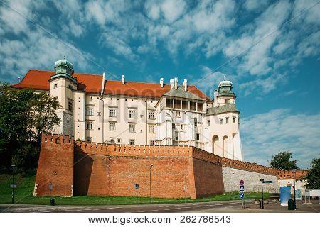 Krakow, Poland. Wawel Castle In Summer Day. Famous Landmark. Unesco World Heritage Site. Fortified A