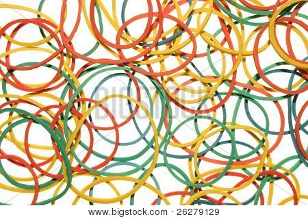 Color elastic bands on a white background