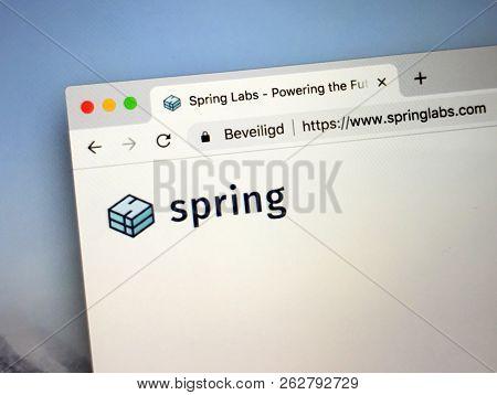 Amsterdam, Netherlands - October 12, 2018: Website Of Spring Labs, A Platform To Exchange Credit And