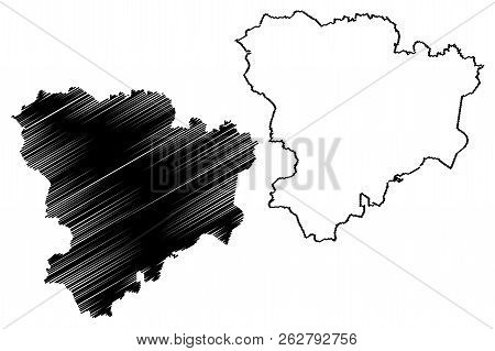 Volgograd Oblast (russia, Subjects Of The Russian Federation, Oblasts Of Russia) Map Vector Illustra