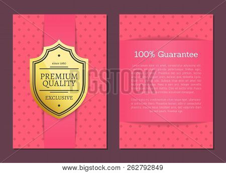 Premium Quality Guarantee Pink Patterned Posters Set With Headline And Text Sample. Product Approval