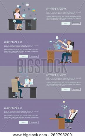Internet And Online Business Web Pages Collection, People Working On Improvement, Laptops Usage, Mod