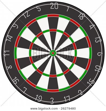 A vector illustration of a dartboard.