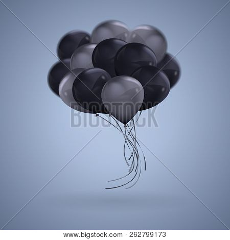 3d Realistic Dark Color Balloons Vector Clipart Illustration