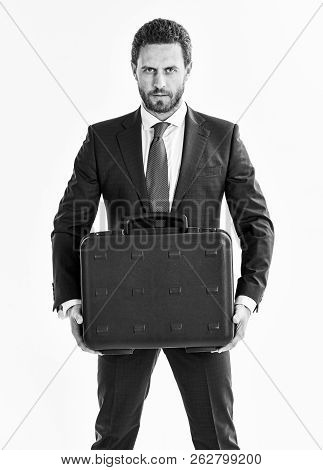 Businessman With Beard Delivers Briefcase. Man In Suit Or Busine