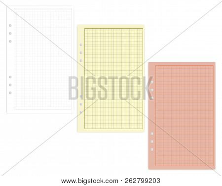 Hole Punched Colored Filler Paper Sheets, Vector Mockup. Lined Junior Legal Size Squared Writing Pad