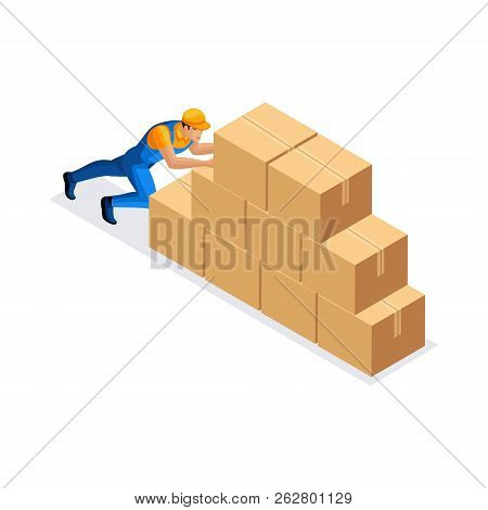 Isometric Man Delivery Service Pushes Large Cardboard Boxes In Stock Man In Uniform. Delivery Concep