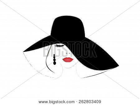 Smiling Beautiful Woman Face With Closed Eyes And Red  Lips In A Wide Brimmed Hat, Horizontal Vector