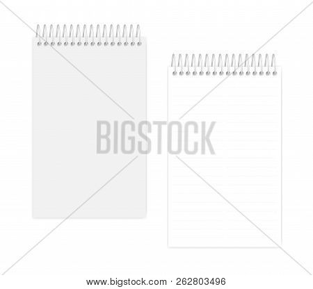 Two Column Dashed Line Top Spiral Notebook, Realistic Vector Mockup. Wire Bound Junior Legal Size No