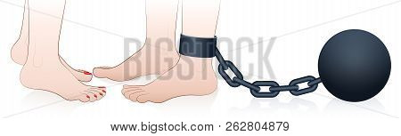 Possessive An Dominating Woman With Chained Man. Symbol For Jealousy, Restriction Or Captivity Of Lo