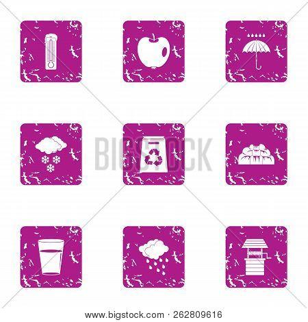 Eco Place Icons Set. Grunge Set Of 9 Eco Place Icons For Web Isolated On White Background