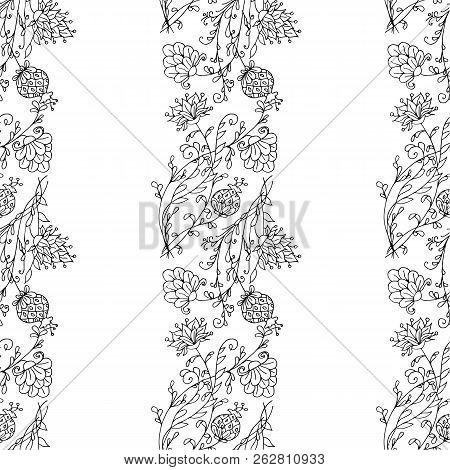 Floral Hand Drawn Vector Monochrome Seamless Ornament, Doodle Style Design Element Stock Vector Illu