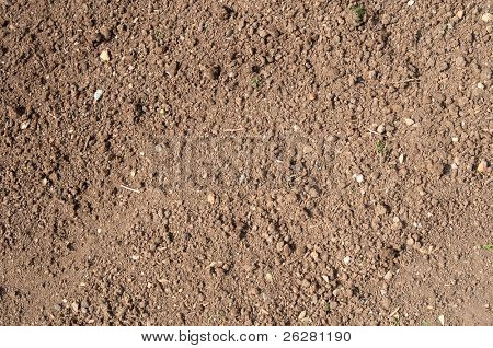 Close up of garden soil, ready for planting.