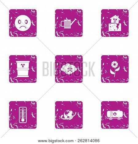 Chemically Hazardous Icons Set. Grunge Set Of 9 Chemically Hazardous Icons For Web Isolated On White