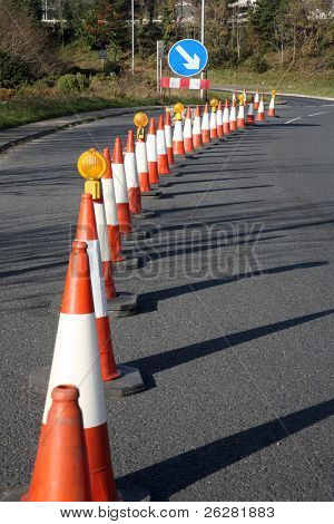 A row of traffic cones.