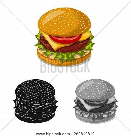 Vector Design Of Burger And Sandwich Symbol. Collection Of Burger And Slice Vector Icon For Stock.