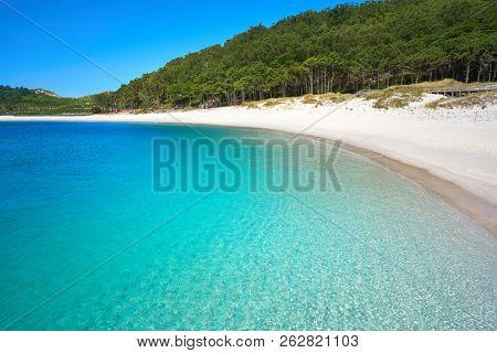 Islas Cies islands Rodas beach turquoise near Vigo of Galicia Spain