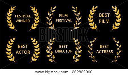 Film Awards. Gold Award Wreaths On Black Background. Vector Illustration.