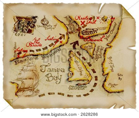 Old Map.Treasure. Parchment.