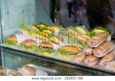Business  Fastfood Hamburgers, Sandwiches In The Storefront