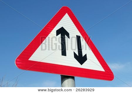 British two way traffic ahead sign.