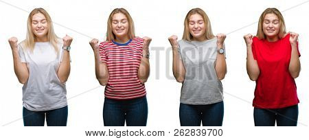 Collage of young beautiful blonde woman wearing a t-shirt over white isolated backgroud excited for success with arms raised celebrating victory smiling. Winner concept.