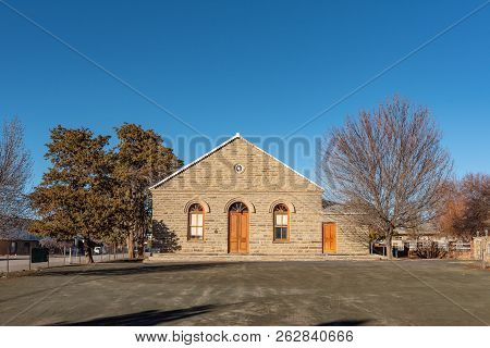 Sutherland, South Africa, August 8, 2018: The Dutch Reformed Curch Hall In Sutherland In The Norther