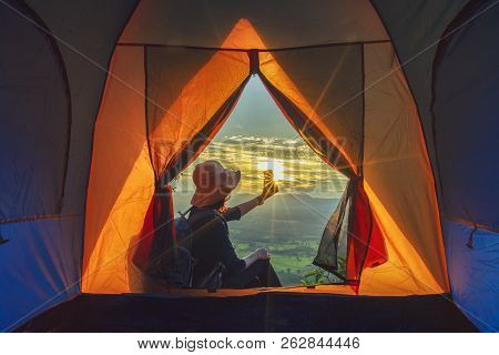 Camping Tent In Campground At The Mountain With Sunset,sunset Inside A Tent,tourist Tent In Forest C