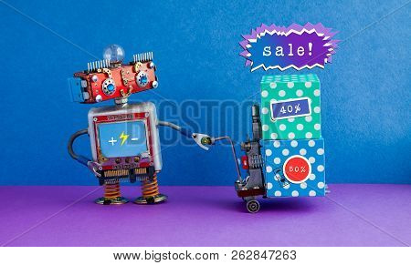 Special Sale Promotion Poster. Comical Robot Moving Shopping Cart Boxes With Discount Advertising St