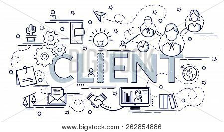 Design Concept Of Client. Infographic Idea Of Making Creative Products. Template For Website Banner,