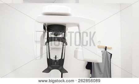 Hightech Digital Equipment For Panoramic X-ray With The White Wall
