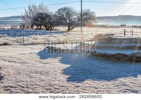 Heavy Frost At A Farm Near Sutherland In The Northern Cape Province. Rainbow Colors Are Visible