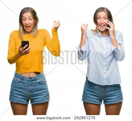 Collage of blonde beautiful woman using smartphone over white isolated backgroud screaming proud and celebrating victory and success very excited, cheering emotion
