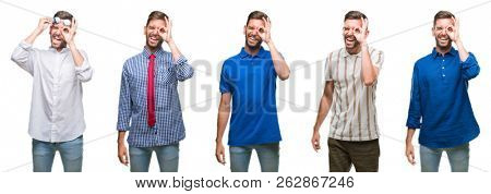 Collage of young business hispanic man over isolated background doing ok gesture with hand smiling, eye looking through fingers with happy face.