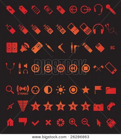poster of set of 63 media and web icons