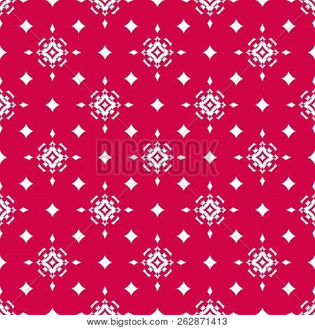 Vector Red Christmas Background. Simple Geometric Seamless Pattern With Star Shapes, Magic Sparkles,