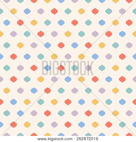 Cute Colorful Dots Seamless Pattern. Vector Geometric Texture With Small Confetti On Beige Backgroun