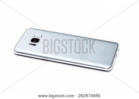 Smartphone Is The Rear Side View, View Of The Back Of The Phone With A Camera, Flash And A Fingerpri