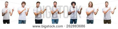 Collage of young caucasian, hispanic, afro men wearing white t-shirt over white isolated background smiling and looking at the camera pointing with two hands and fingers to the side.
