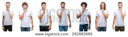 Collage of young caucasian, hispanic, afro men wearing white t-shirt over white isolated background asking to be quiet with finger on lips. Silence and secret concept.