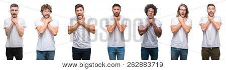 Collage of young caucasian, hispanic, afro men wearing white t-shirt over white isolated background shouting and suffocate because painful strangle. Health problem. Asphyxiate and suicide concept.