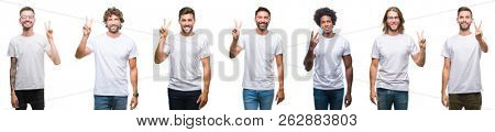 Collage of young caucasian, hispanic, afro men wearing white t-shirt over white isolated background showing and pointing up with fingers number two while smiling confident and happy.